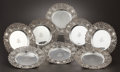 Silver Holloware, American:Plates, A SET OF EIGHT AMERICAN SILVER PLATES. Attributed to Dominick &Haff, New York, New York, circa 1890. Marks: STERLING, 166...(Total: 8 Items)