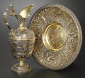 Silver Holloware, British:Holloware, A VICTORIAN SILVER GILT EWER AND UNDER PLATE. Richard WilliamElliott, London, England, 1843-1844. Marks: (lion passant), (l...(Total: 3 Items)