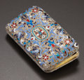 Silver Smalls:Cigarette Cases, A RUSSIAN CLOISONNÉ, SILVER AND SILVER GILT CIGARETTE CASE. GustavKlingert, Moscow, Russia, 1891. Marks: AA (over)18...