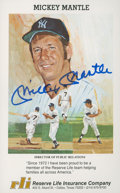 Autographs:Post Cards, Mickey Mantle Signed Postcard....