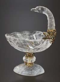 A VIENNESE ROCK CRYSTAL, SILVER GILT AND ENAMEL VESSEL Hermann Ratzersdorfer, Vienna, Austria, circa 1866-1881