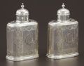 Silver Holloware, British:Holloware, A PAIR OF GEORGE II SILVER TEA CADDIES. John Newton, London,England, 1739-1740. Marks: (lion passant), (leopard's head crow...(Total: 2 Items)