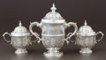 Silver Holloware, British:Holloware, A SET OF THREE GEORGE III SILVER CUPS WITH COVERS. Charles Hatfield, London, England, 1737-1738. Marks: (lion passant), (leo... (Total: 6 Items)