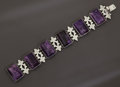Silver Smalls:Other , A MEXICAN SILVER AND AMETHYST QUARTZ BRACELET. Fred Davis, MexicoCity, Mexico, circa 1935. Marks: FD, SILVER, MEXICO. 7...