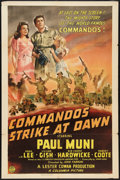 """Movie Posters:War, Commandos Strike at Dawn (Columbia, 1942). One Sheet (27"""" X 41"""")Style A. War.. ..."""