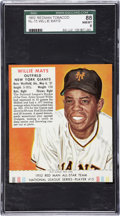 Baseball Cards:Singles (1950-1959), 1952 Red Man Tobacco Willie Mays #15 SGC 88 NM/MT 8 - Pop 1-of-4, Highest Graded Example!...