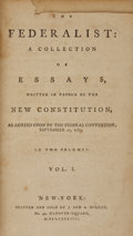 Books:First Editions, Alexander Hamilton, James Madison, and John Jay. The Federalist: A Collection of Essays, Written in Favour of the New Co...