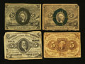 Fractional Currency:First Issue, Four Five Cent Fractional Notes.... (Total: 4 notes)