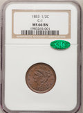 Half Cents, 1853 1/2 C MS66 Brown NGC. CAC....
