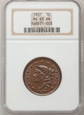 Large Cents, 1837 1C Head of 1838 MS65 Brown NGC....