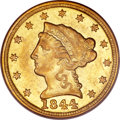 Liberty Quarter Eagles, 1844-C $2 1/2 AU58 PCGS....