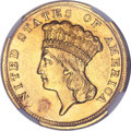 Three Dollar Gold Pieces, 1854-D $3 --Harshly Cleaned--NGC. AU Details....