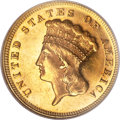 Three Dollar Gold Pieces, 1872 $3 MS61 Prooflike NGC....