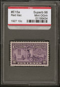 Stamps, 10c Red Lilac (E15a),... (Total: 1 Slab)