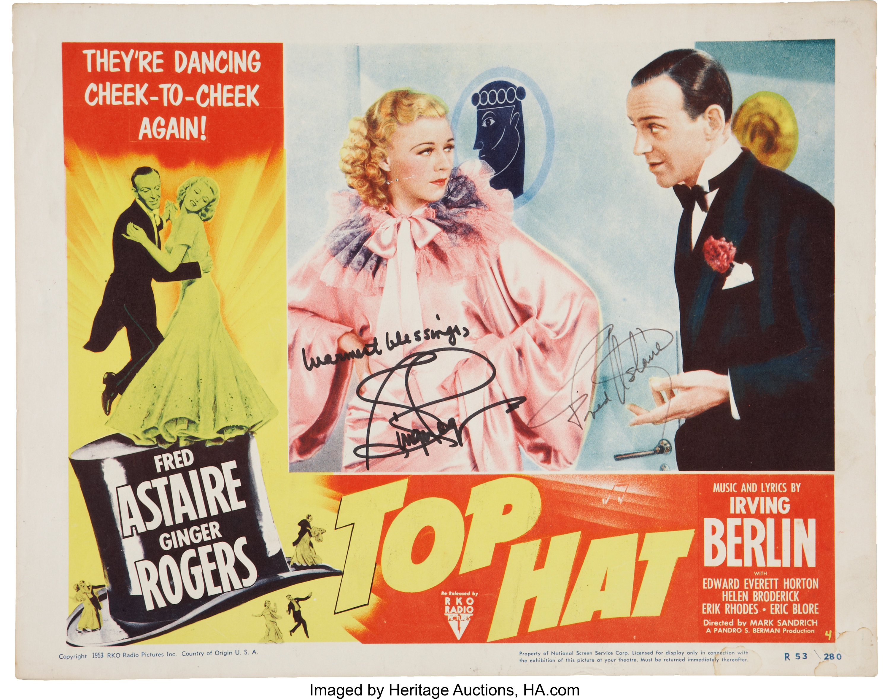 Fred Astaire And Ginger Rogers Autographed Top Hat Lobby Card Lot 50010 Heritage Auctions