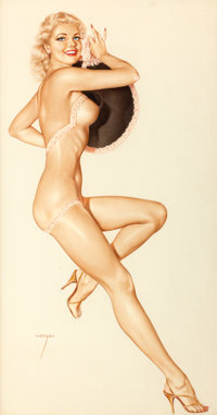 ALBERTO VARGAS (American, 1896-1982) Pin-Up with a Hat Watercolor on paper 28 x 15 in. Signed