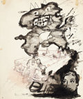 Fine Art - Work on Paper:Drawing, JORGE DE LA VEGA (Argentine, 1930-1971). Untitled, 1966.Mixed media on paper. 16-1/4 x 14 inches (41.3 x 35.6 cm). Sign...