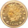 California Fractional Gold: , 1875/3 50C Indian Round 50 Cents, BG-1058, R.3, MS64 PCGS. PCGSPopulation (9/4). NGC Census: (1/1). (#10887)...