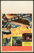 """Movie Posters:War, One of Our Aircraft Is Missing (United Artists, 1942). Window Card(14"""" X 22""""). War.. ..."""