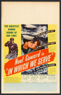 """Movie Posters:War, In Which We Serve (United Artists, 1943). Window Card (14"""" X 22"""").War.. ..."""