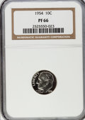 Proof Roosevelt Dimes: , 1954 10C PR66 NGC. NGC Census: (153/555). PCGS Population(442/525). Mintage: 233,300. Numismedia Wsl. Price for problemfr...