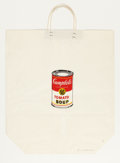 Prints, ANDY WARHOL (American, 1928-1987). Campbell's Soup Can on Shopping Bag, 1964. Color silkscreen on shopping bag. 19-1/2 x...
