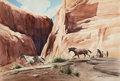 Western:20th Century, STANLEY M. LONG (American, 1892-1972). Horses in a Canyon. Watercolor on paper. 20 x 30 inches (50.8 x 76.2 cm). Signed ...