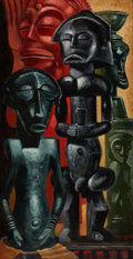 Texas:Early Texas Art - Modernists, OLIN TRAVIS (American, 1888-1975). African Sculpture. Oil onboard. 25 x 13 inches (63.5 x 33.0 cm). Signed lower right:...