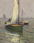 Paintings, PAUL RICHARD SCHUMANN (American, 1876-1946). Sailboats . Oil on board. 10 x 8 inches (25.4 x 20.3 cm). Signed lower righ...