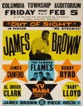 Music Memorabilia:Posters, James Brown Columbia Township Auditorium Concert Poster (circa1965)....