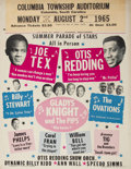 Music Memorabilia:Posters, Otis Redding/Joe Tex Columbia Township Auditorium Concert Poster(1965)....