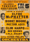 Music Memorabilia:Posters, Clyde McPhatter Columbia Township Auditorium Concert Poster(1966)....