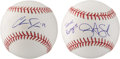 Autographs:Baseballs, Baseball Top Prospects Single Signed Baseballs Lot Of 2....