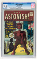 Silver Age (1956-1969):Mystery, Tales to Astonish #7 (Marvel, 1960) CGC VF- 7.5 Off-white to whitepages....