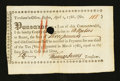 Colonial Notes:Massachusetts, Massachusetts Treasury Certificate, Boston April 1, 1786. VeryFine- Extremely Fine....