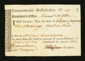 Colonial Notes:Massachusetts, Massachusetts Treasury Tax Collector's Certificate. November 1782.About New....