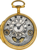 Timepieces:Pocket (pre 1900) , Verge Fusee With Unusual Exposed Mock Pendulum & RegulatorDiscs, circa 1680's. ...