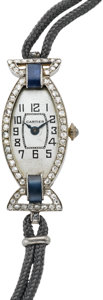 Timepieces:Wristwatch, Cartier Lady's Art Deco Diamond & Sapphire Wristwatch By European Watch & Clock Co., circa 1920. ...