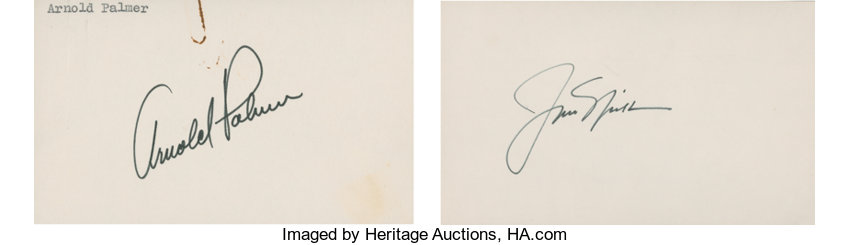 0956bfbf9d7 Autographs:Others, Arnold Palmer and Jack Nicklaus Single Signed Index  Cards Lot of2.