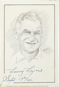 "Autographs:Others, Napoleon ""Larry"" Lajoie Signed Original Artwork...."