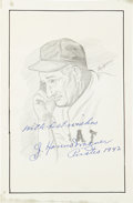 Autographs:Others, Honus Wagner Signed Original Artwork....