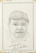 Autographs:Others, Babe Ruth Signed Original Artwork....