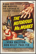 "Movie Posters:Crime, The Notorious Mr. Monks (Republic, 1958). One Sheet (27"" X 41"")Flat-Folded. Crime.. ..."