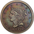 Proof Braided Hair Half Cents, 1848 1/2 C First Restrike PR64 Brown NGC....
