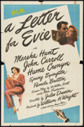 """Movie Posters:Comedy, A Letter for Evie (MGM, 1945). One Sheet (27"""" X 41""""). Comedy.. ..."""