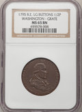 Colonials, 1795 1/2P Washington Grate Halfpenny, Large Buttons, Reeded Edge MS65 Brown NGC....