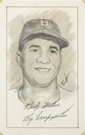 Autographs:Others, Roy Campanella Signed Original Artwork....