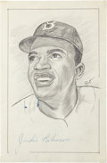 Autographs:Others, Jackie Robinson Signed Original Artwork....