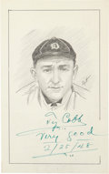 Autographs:Others, Ty Cobb Signed Original Artwork....