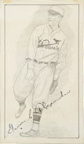 Autographs:Others, Grover Cleveland Alexander Signed Original Artwork....